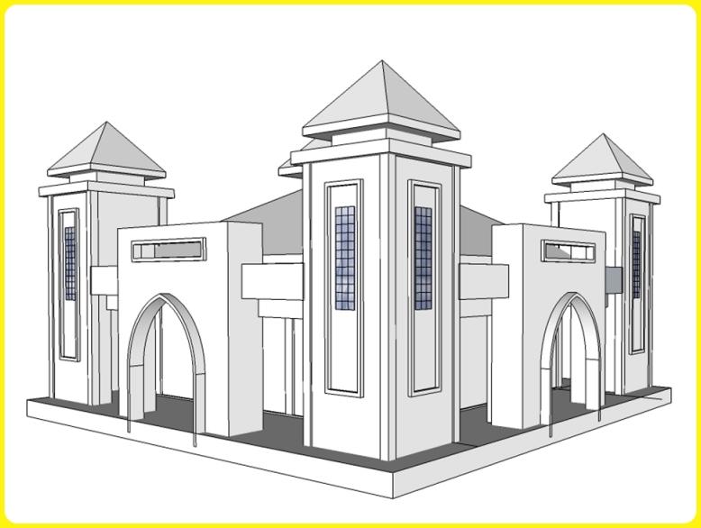 sketsa gambar masjid 3d dengan pintu dua sisi