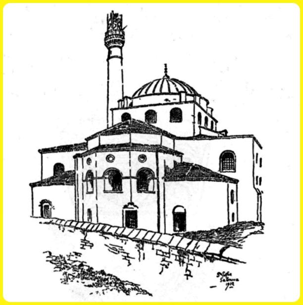 sketsa gambar masjid 3d menara tinggi