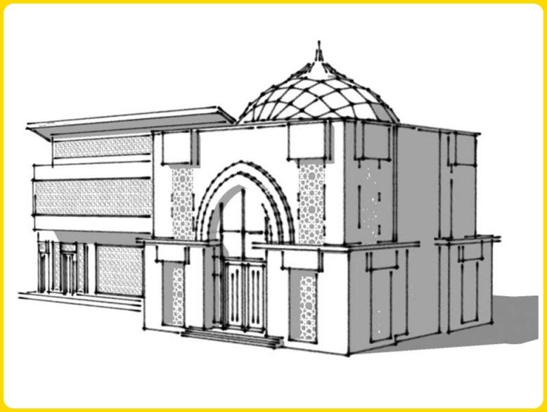 sketsa gambar masjid 3d