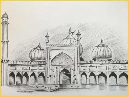sketsa gambar masjid artistik