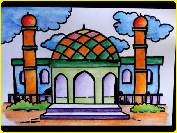 sketsa gambar masjid berwarna dan berawan