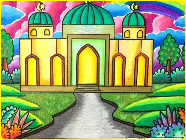 sketsa gambar masjid berwarna kuning plasma