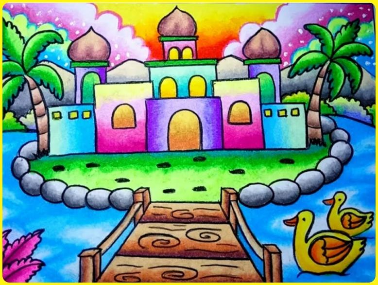 sketsa gambar masjid berwarna masjid apung