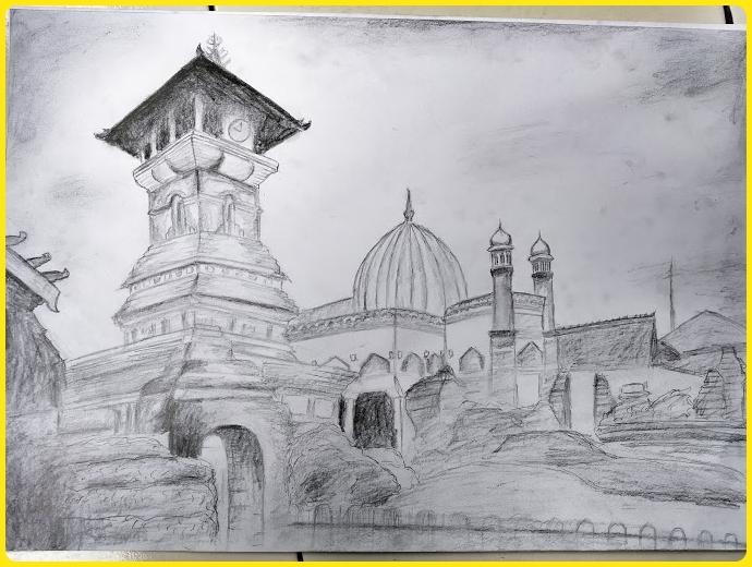 sketsa gambar masjid hitam putih dengan teknik arsir