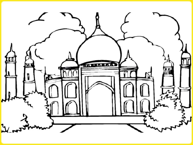 sketsa gambar masjid hitam putih masjid aceh