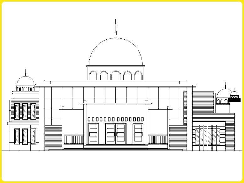 sketsa gambar masjid hitam putih motif vertikal