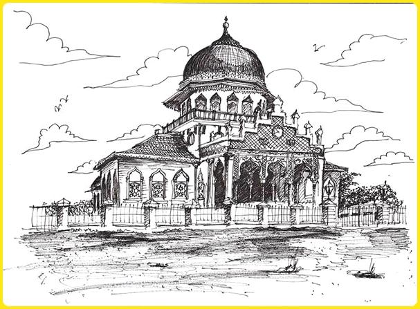 sketsa gambar masjid hitam putih tradisional