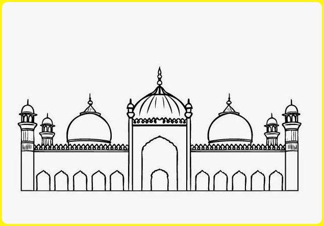 sketsa gambar masjid hitam putih
