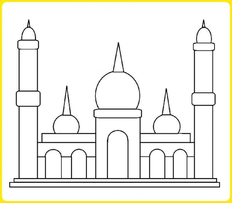 sketsa gambar masjid kubah segitiga
