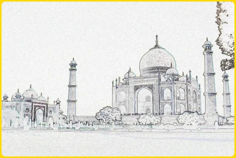 sketsa gambar masjid luas