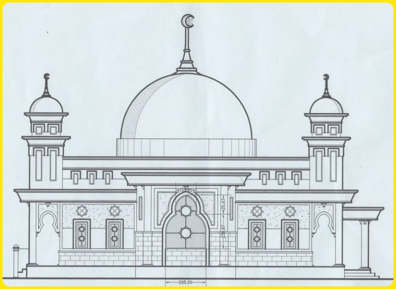 sketsa gambar masjid megah eksterior cantik
