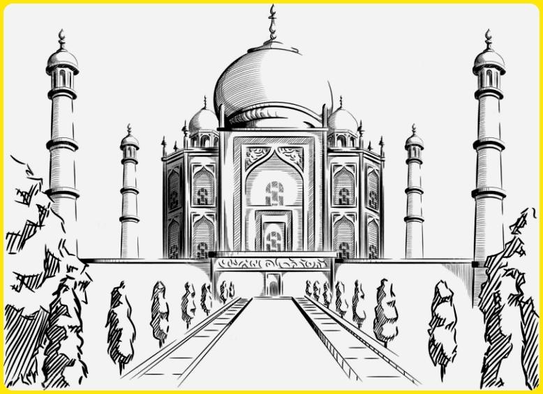 sketsa gambar masjid megah menyerupai istana