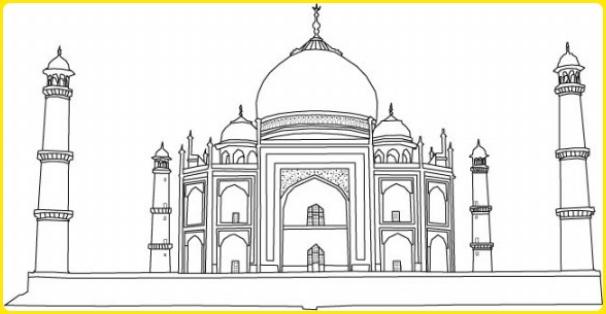 sketsa gambar masjid megah
