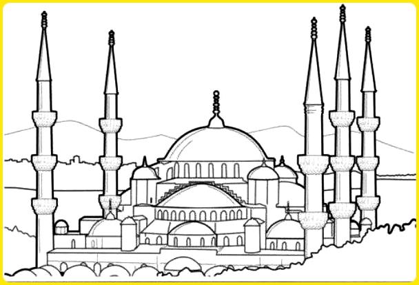 sketsa gambar masjid nabawi madinah