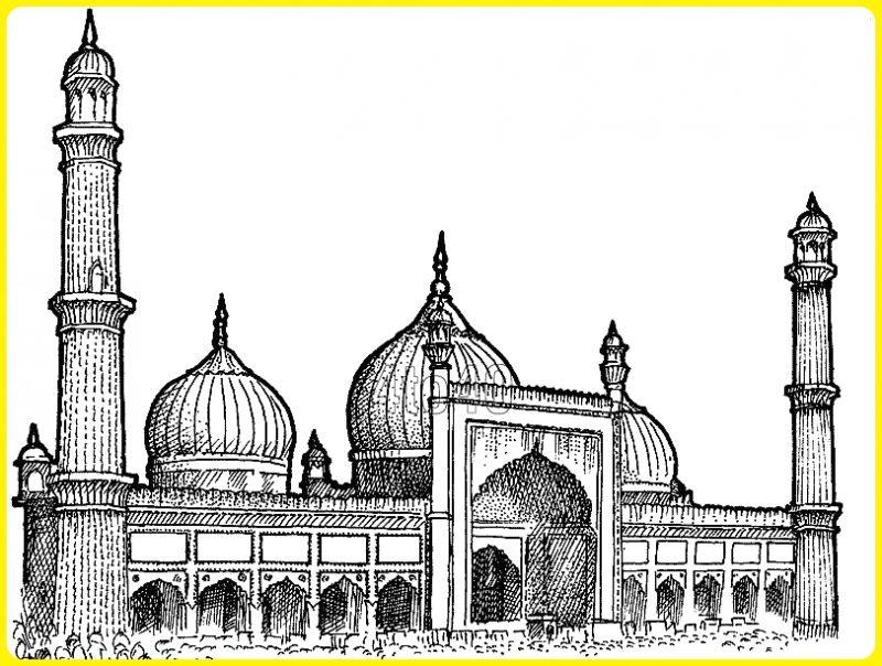 sketsa gambar masjid nabawi tampak depan