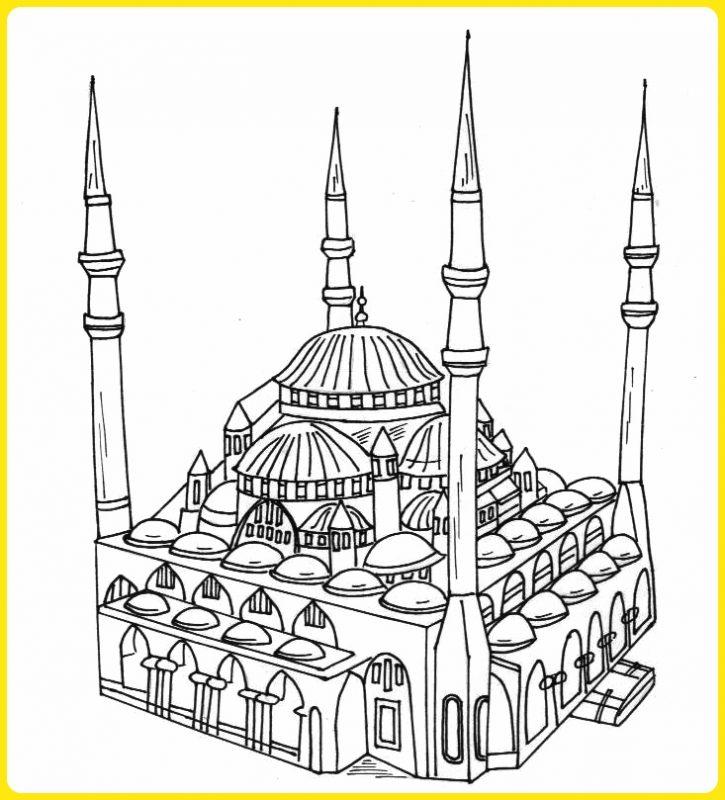 sketsa gambar masjid png 2 sisi