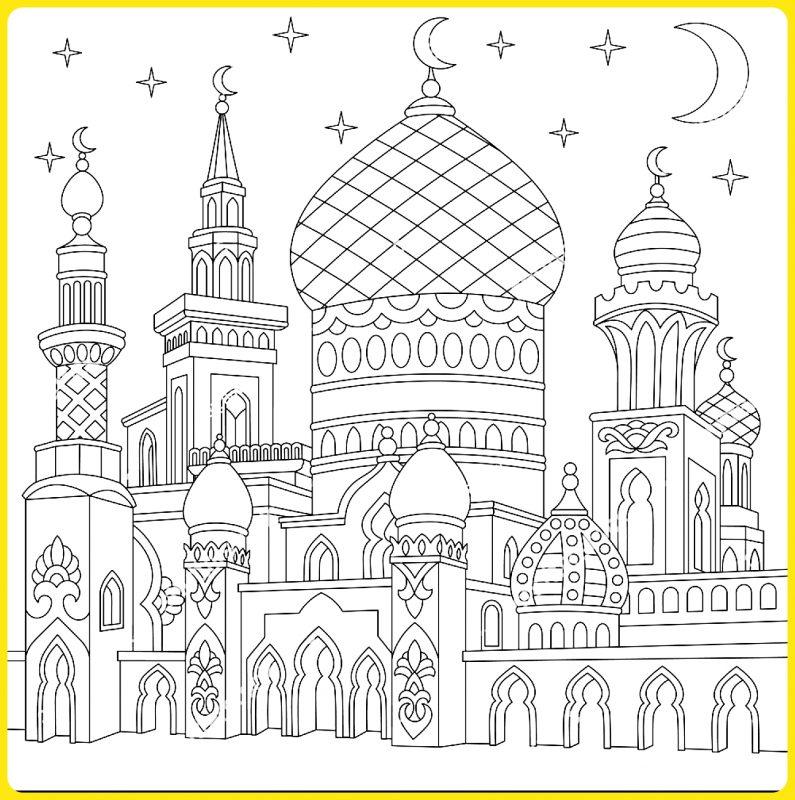 sketsa gambar masjid png