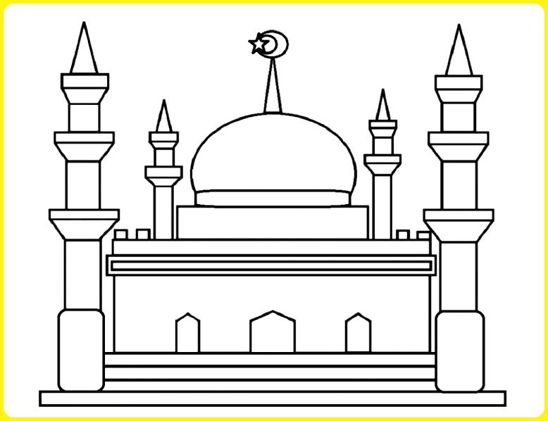 sketsa gambar masjid sederhana berhiaskan bulan dan bintang