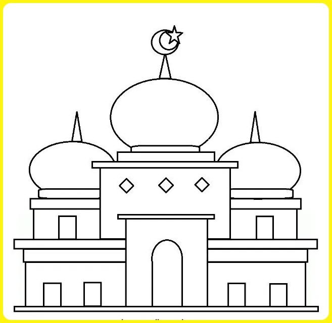sketsa gambar masjid sederhana berkubah 3