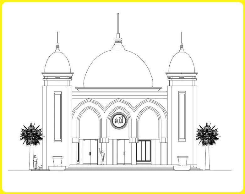 sketsa gambar masjid sederhana