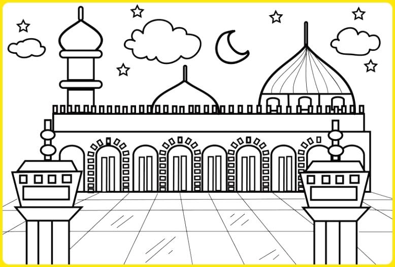 sketsa gambar masjid untuk anak sd background langit
