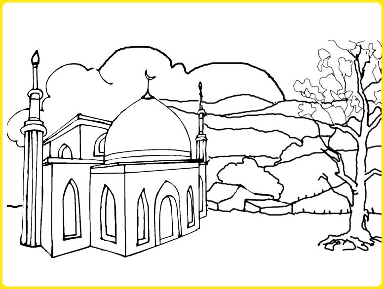 sketsa gambar masjid untuk diwarnai di alam terbuka