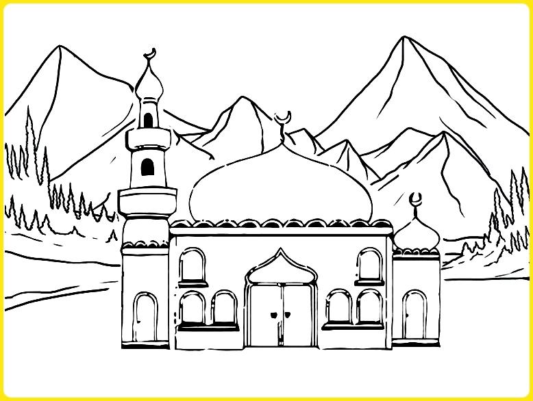 sketsa gambar masjid untuk diwarnai di pegunungan