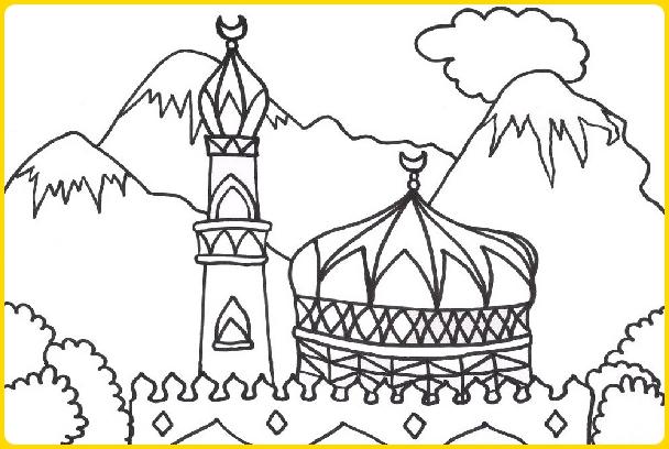 sketsa gambar masjid untuk mewarnai dengan latar belakang pemandangan