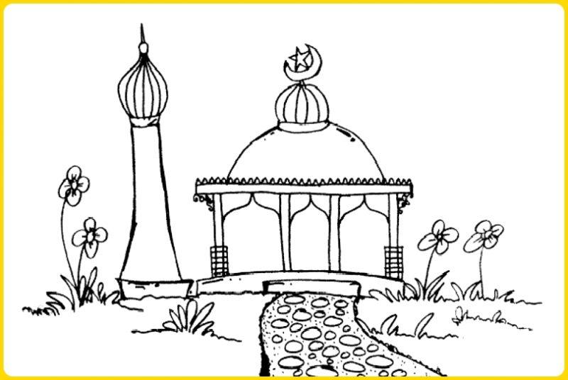 sketsa gambar masjid untuk mewarnai masjid dan bunga