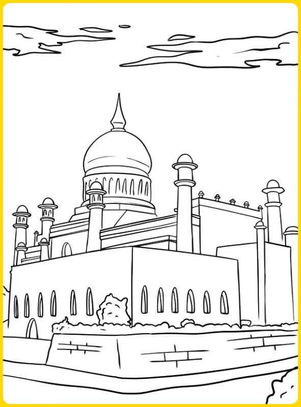 sketsa gambar masjid untuk mewarnai masjid modern