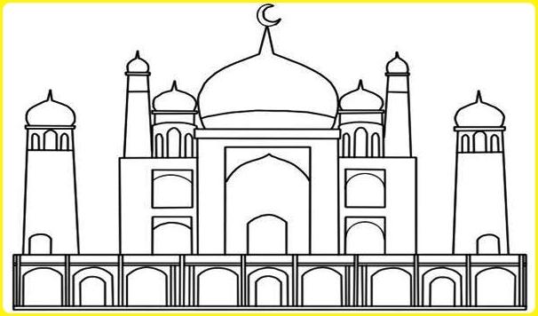 sketsa gambar masjid yang mudah berpagar
