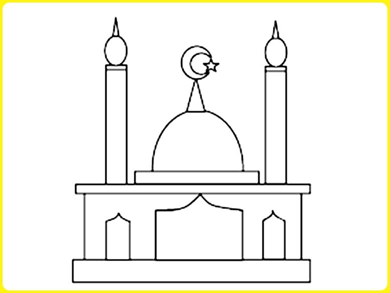 sketsa gambar masjid yang mudah pintu lebar
