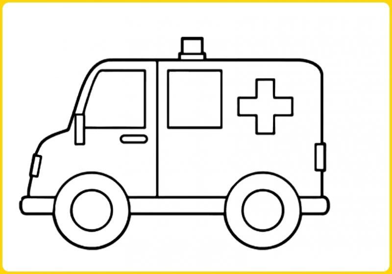 sketsa gambar mobil ambulance tampak samping