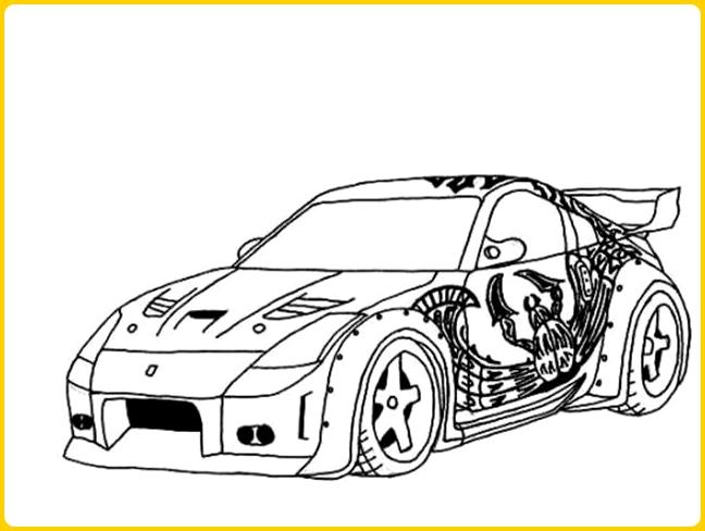 sketsa gambar mobil balap berstiker