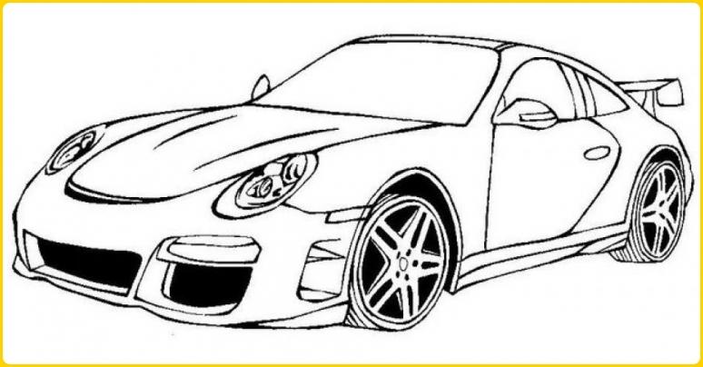 sketsa gambar mobil balap cantik