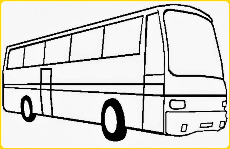 sketsa gambar mobil bus medium