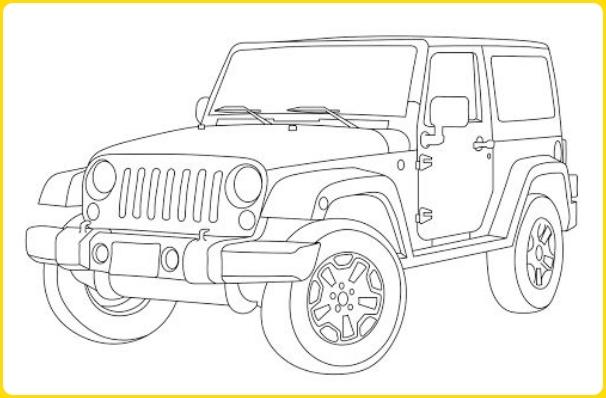 sketsa gambar mobil jeep berbelok