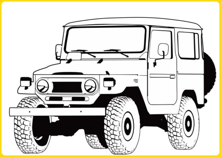 sketsa gambar mobil jeep elegan