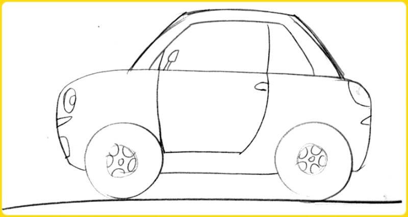 sketsa gambar mobil kartun sederhana