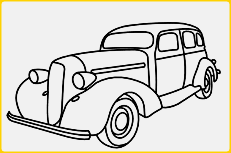 sketsa gambar mobil klasik