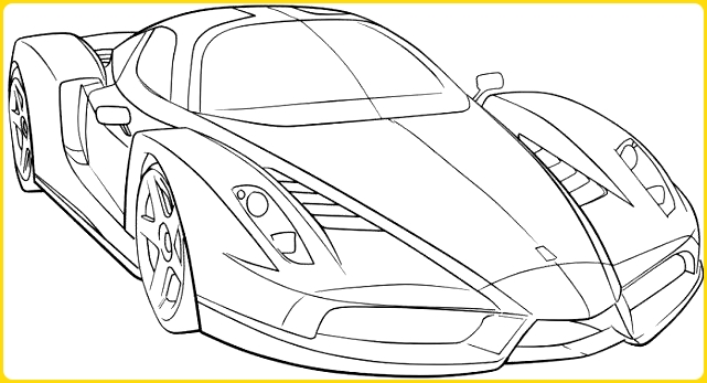 sketsa gambar mobil mewah sporty