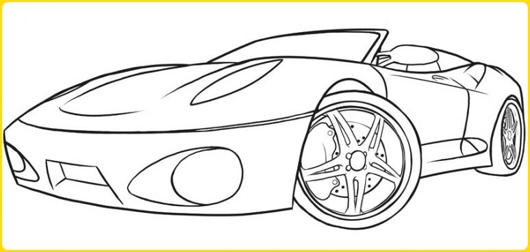 sketsa gambar mobil mewah terbuka