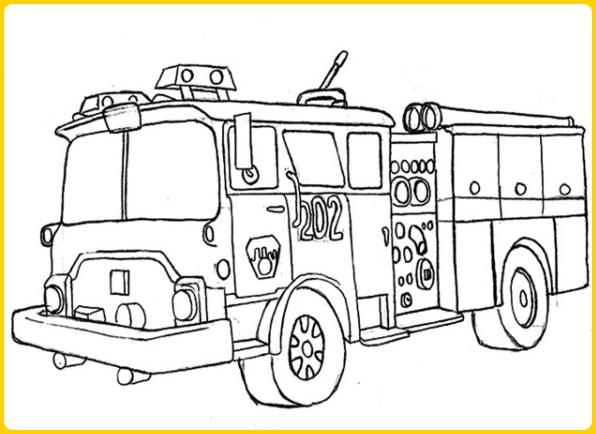 sketsa gambar mobil pemadam kebakaran unik