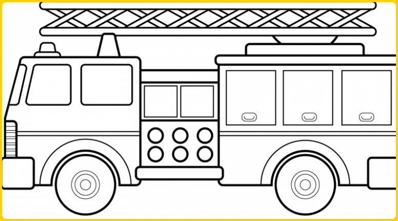 sketsa gambar mobil pemadam kebakaran