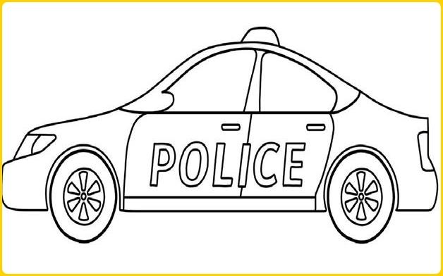sketsa gambar mobil polisi