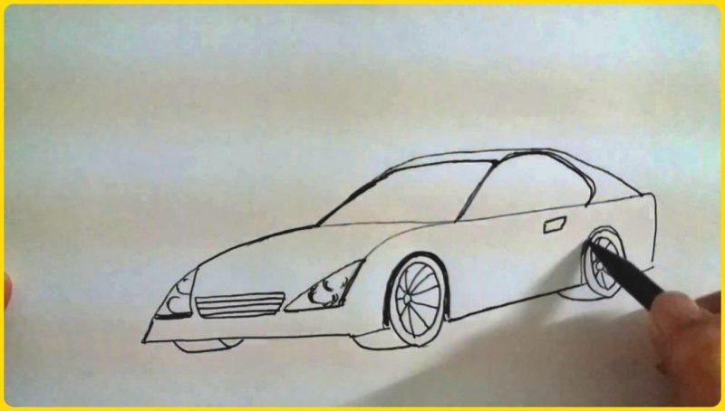 sketsa gambar mobil sedan sederhana