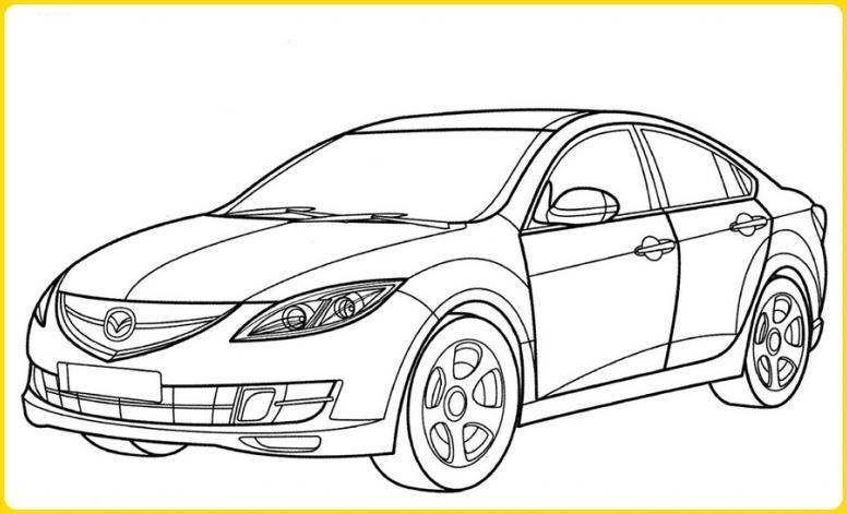 sketsa gambar mobil sedan