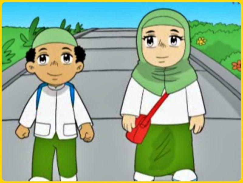 sketsa gambar muslim anak sekolah