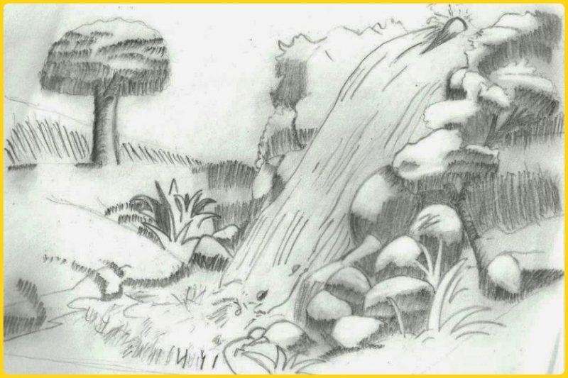 sketsa gambar pemandangan air terjun