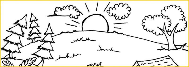 sketsa gambar pemandangan alam matahari terbit